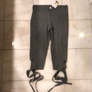 Free People Grey Tie Crop Turnout Legging